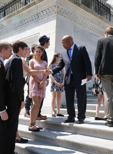 Meeting Congressman Lewis on Capitol steps